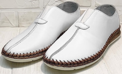 Мужские кожаные туфли мокасины летние business casual для мужчин Luciano Bellini 91724-S-304 All White.