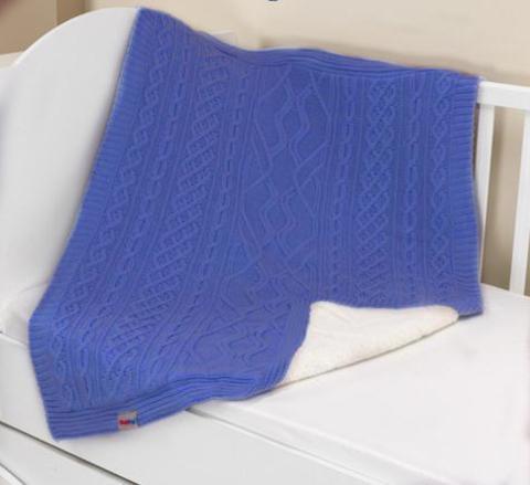 Плед-покрывало вязаный U14-01, внутренний слой велсофт, 95*120 см, состав: 50% акрил, 50% полиэстер (синий)