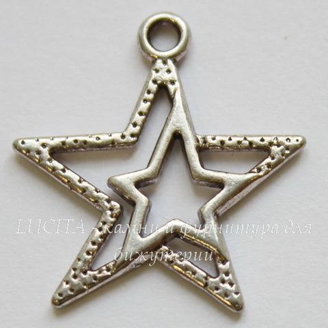 "Подвеска ""Звезда"" (цвет - античное серебро) 23х20 мм"