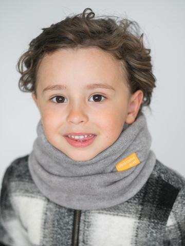 Детский снуд-горловинка из турецкой шерсти серый