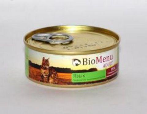 BioMenu ADULT Консервы д/кошек мясной паштет с Языком  95%-МЯСО 100гр*24