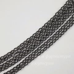 Цепь с насечками (цвет - черный никель), звено 4х3 мм