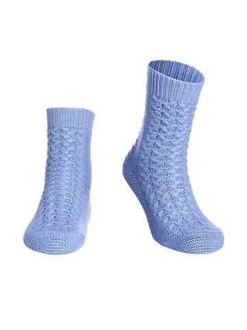 Женские носки голубого цвета из 100% кашемира - фото 1