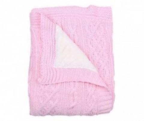 Плед-покрывало вязаный U14-01, внутренний слой велсофт, 95*120 см, состав: 50% акрил, 50% полиэстер (розовый)