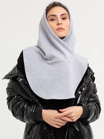 Капор-капюшон серый меланж