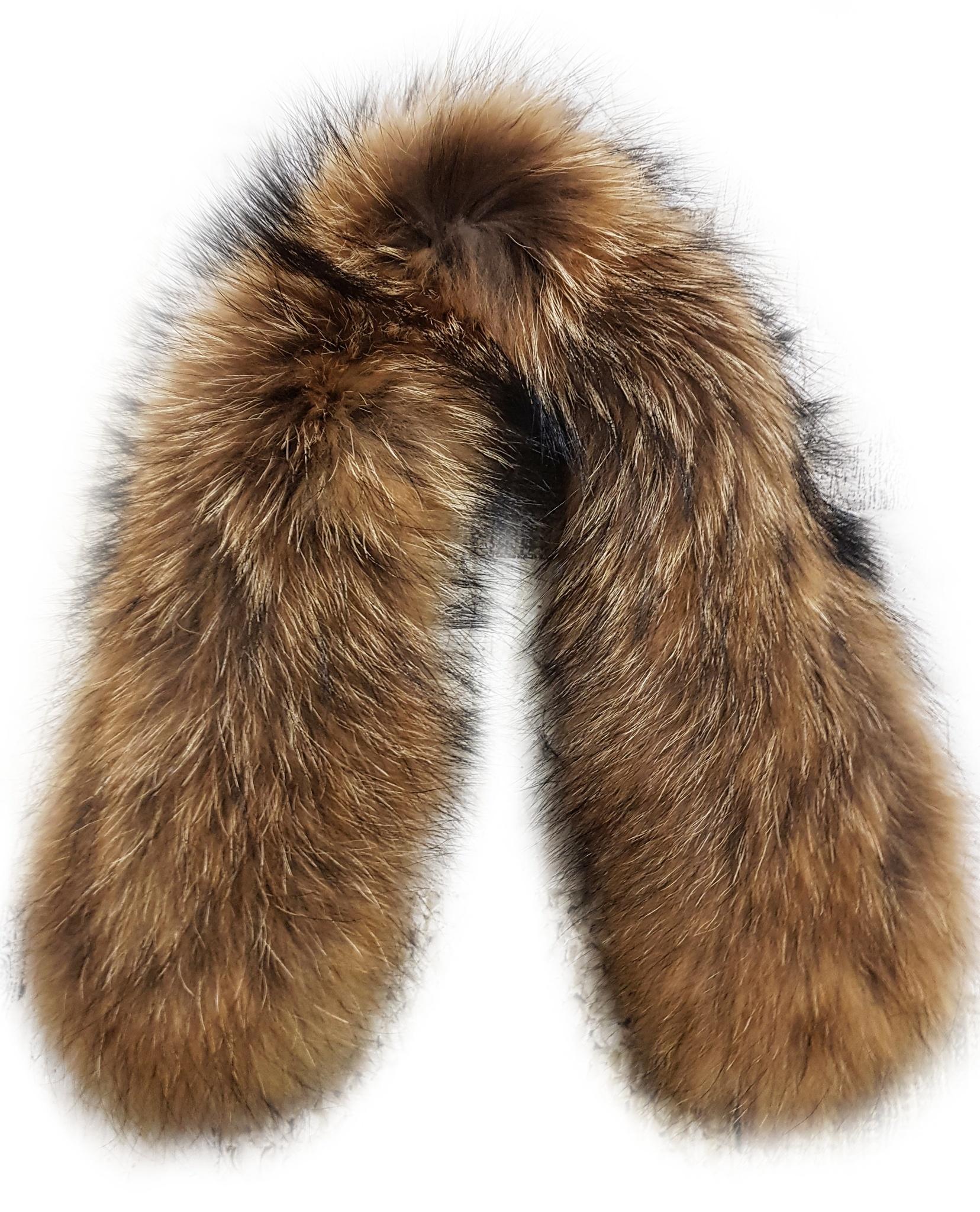Опушка на капюшон из натурального меха енот 75 см