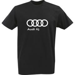 Футболка с однотонным принтом Ауди (Audi A3) черная 0042