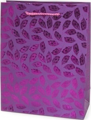 Пакет подарочный, Воздушные перья, Фуше, Металлик, 32*26*10 см, 1 шт.