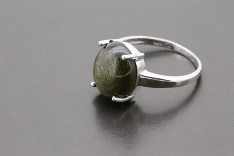 Кольцо с обсидианом из серебра 925