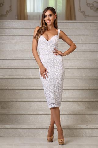 Кружевное платье миди на бретелях, белое
