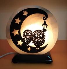Солевая лампа Совы на луне