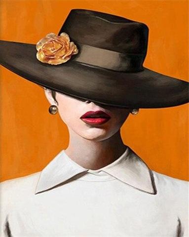 Алмазная Мозаика 30x40 Дама в шляпе на желтом фоне (Арт. MHZS196 )