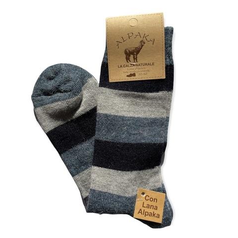 Носки мужские 100% шерсть, серо-синяя полоска, Италия