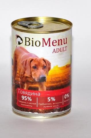 BioMenu ADULT Консервы д/собак Говядина 95%-МЯСО 410гр*12