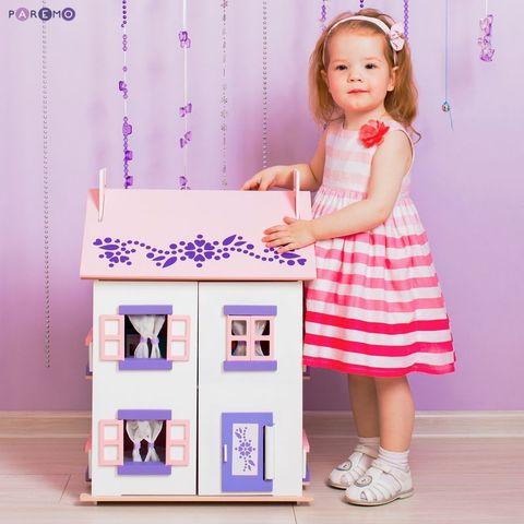 """Деревянный кукольный домик """"Анастасия"""" с 15 предметами мебели"""