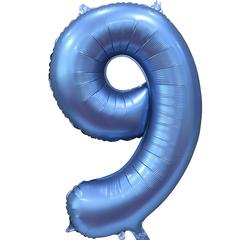 К Цифра, 9, Синий, Сатин, 34''/86 см, в упаковке 1 шт.