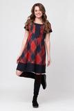 Платье для беременных 06016 красный-синий