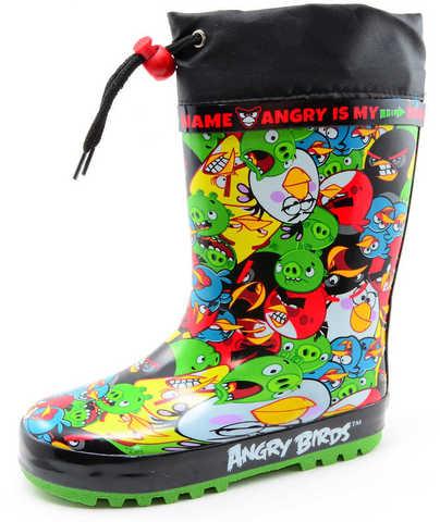 Резиновые сапоги для мальчиков утепленные Энгри Бердс (Angry Birds), цвет черный. Изображение 1 из 11.