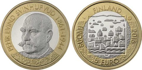 5 евро 2016 Финляндия - Пер Эвинд Свинхувуд (третий президент)