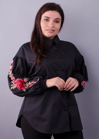 Юсміна. Стильна блуза плюс сайз. Чорний.