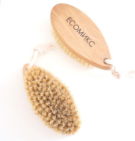 Щетка натуральная массажная маленькая без ручки щетина дикого кабана ( лимфодренажная щетка) ECOмикс