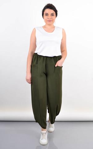 Фантазія. Літні жіночі штани великий розмір. Олива.