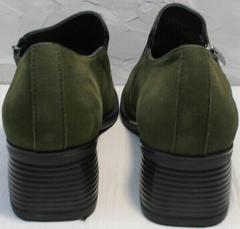 Закрытые женские туфли на каблуке каблуке 5 см демисезонные Miss Rozella 503-08 Khaki.