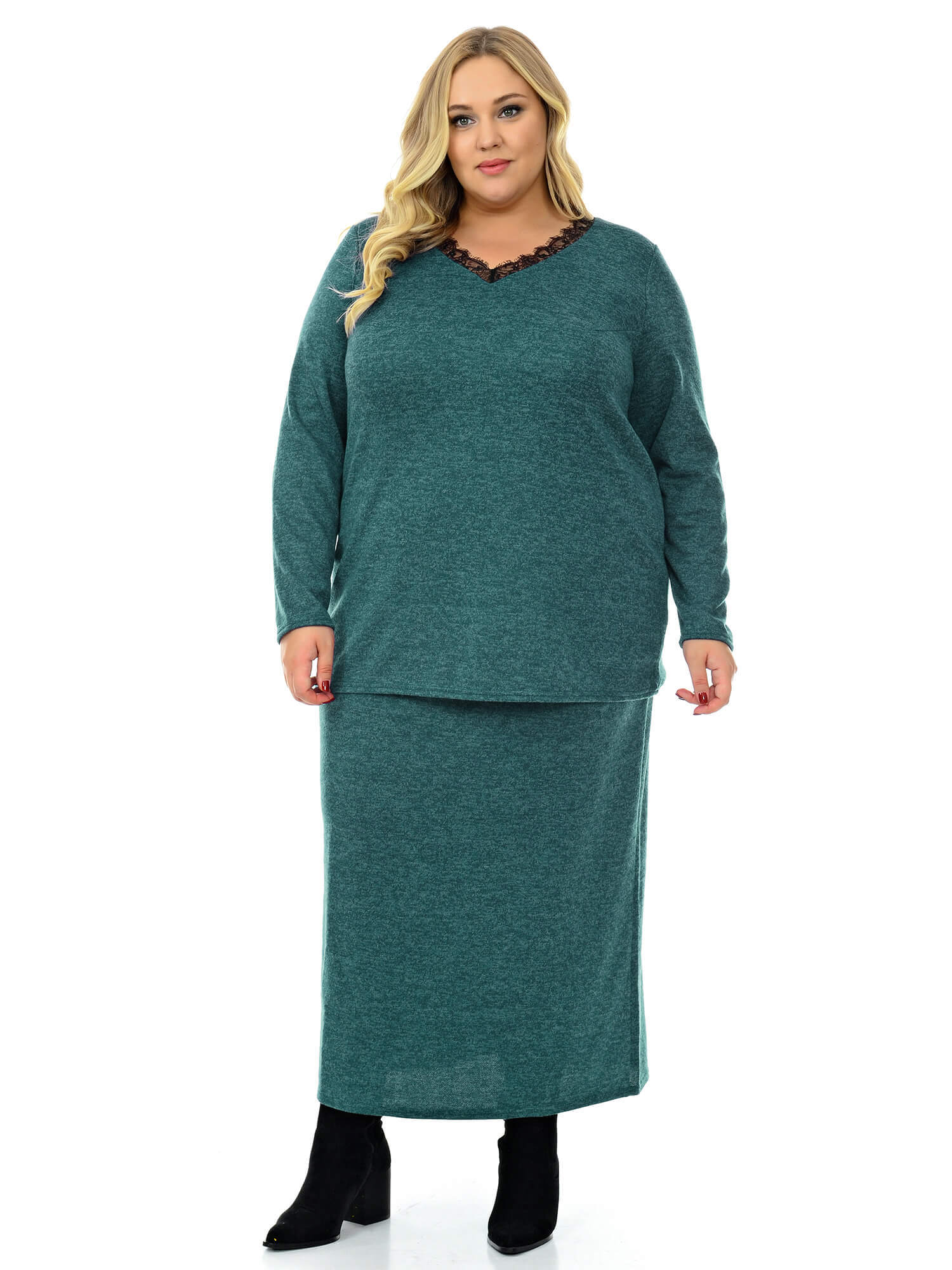 Длинная прямая юбка из джерси меланж
