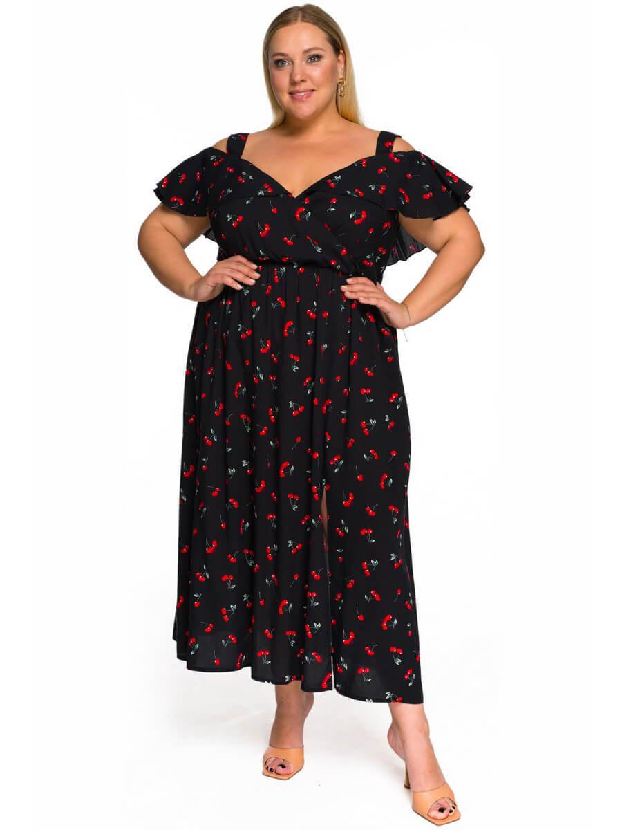 Платье с крылышком Вишни на чёрном
