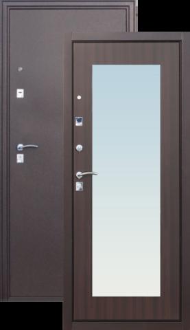 Дверь входная Сибирский Стандарт Царское Зеркало Макси, 2 замка, 1,5 мм  металл, (медь антик+венге)