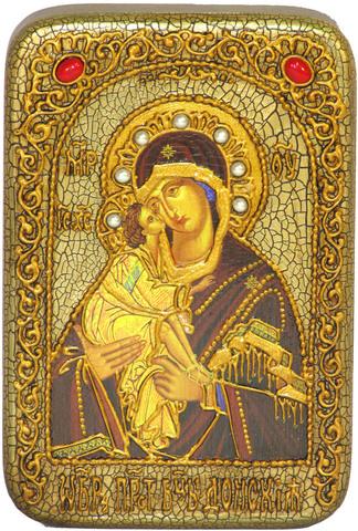 Инкрустированная икона Донская Пресвятая Богородица 15х10см на натуральном дереве, в подарочной коробке