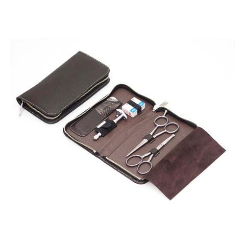 Набор бритвенный Dovo  (508056) 5 предметов цвет коричневый кожаный футляр