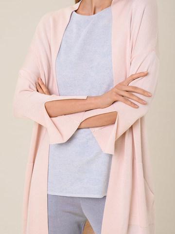 Женский удлиненный кардиган светло-розового цвета из вискозы - фото 5