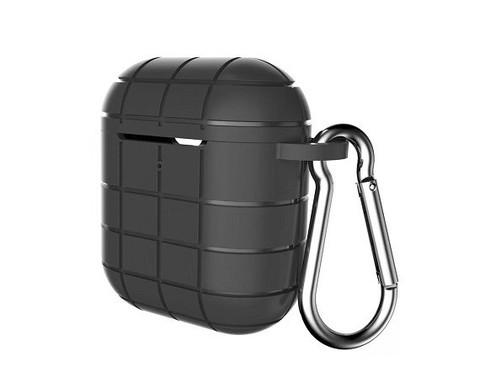 Чехол для Airpods с карабином сетка | силикон черный