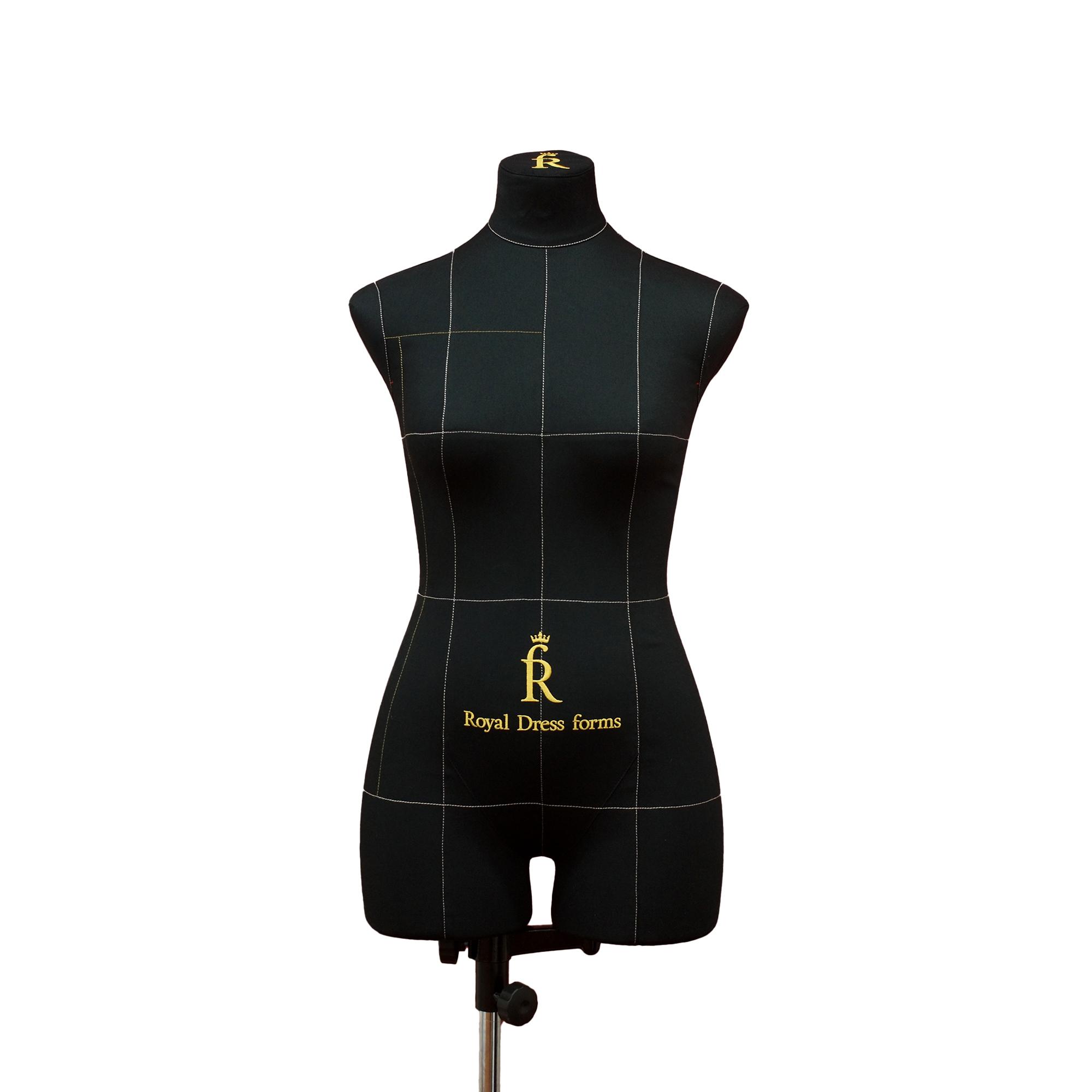 Манекен портновский Моника, комплект Про, тип фигуры песочные часы, размер 44, цвет черный, в комплекте накладки, руки, нога и голова