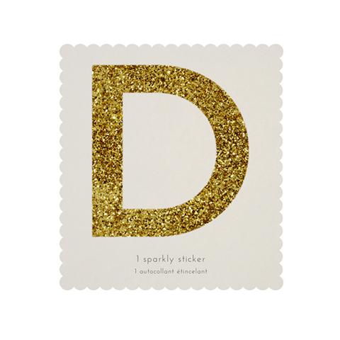Стикер D, мерцающее золото