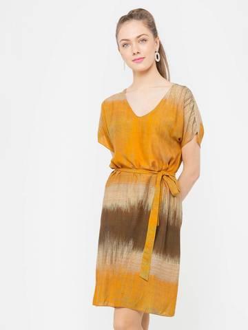 Фото оранжевое платье-туника с v-образным вырезом и поясом - Платье З797-563 (1)