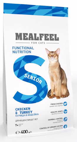 Mealfeel Functional Nutrition Senior корм для кошек старше 7 лет, с курицей и индейкой 1,5 кг.