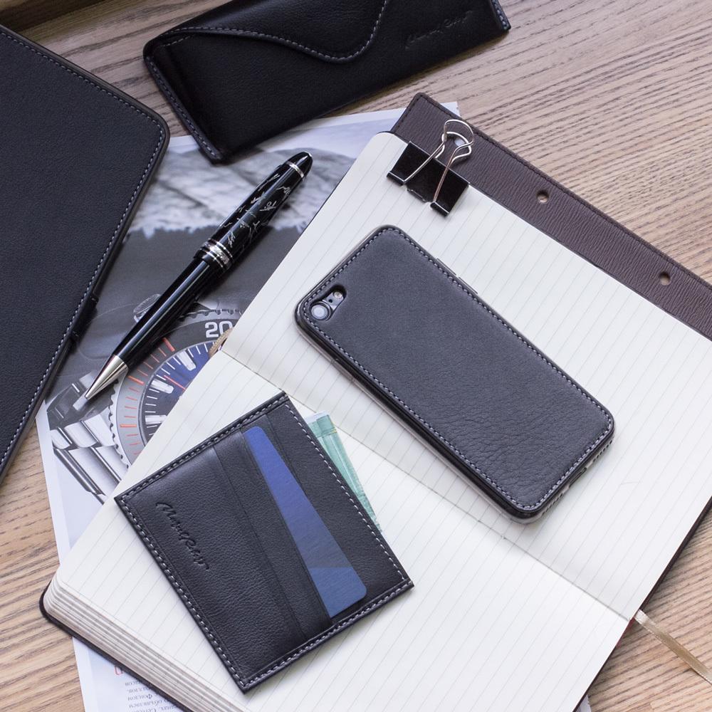 Чехол-накладка для iPhone 7 из натуральной кожи теленка, черного цвета