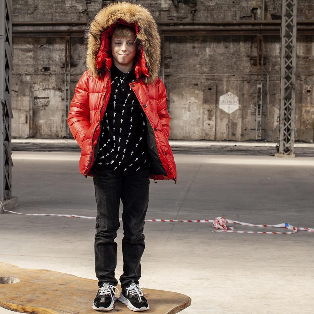Підліткова зимова куртка з натуральної опушки червоного кольору на хлопчика