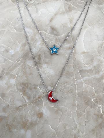 Колье Эфеса из серебра с голубой звездой и красным месяцем