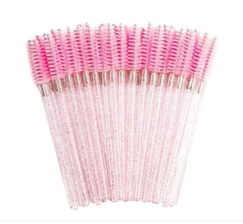 Щеточки для расчесывания ресниц розовые 50 шт.