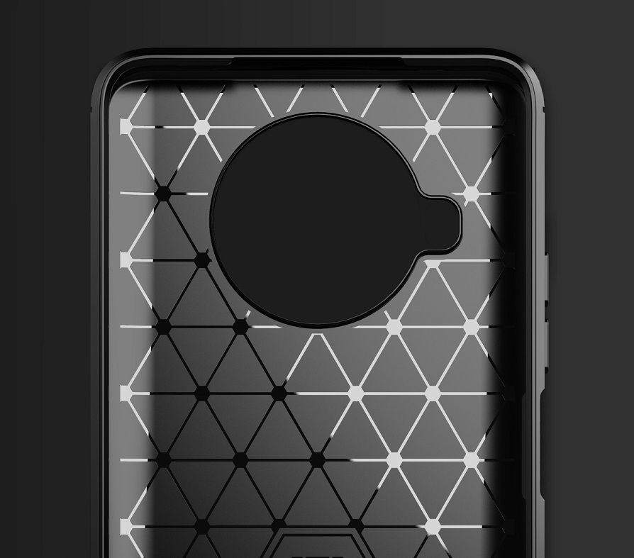 Чехол черный защитный для Xiaomi Mi 10T Lite, серии Carbon (в стиле карбон) от Caseport