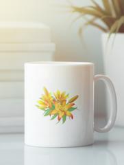 Кружка с изображением  Цветы (Лилии) белая 008