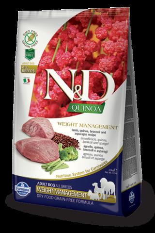 Сухой беззерновой корм Farmina N&D GF Quinoa Weight Management Lamb Adult Dog All Breeds
