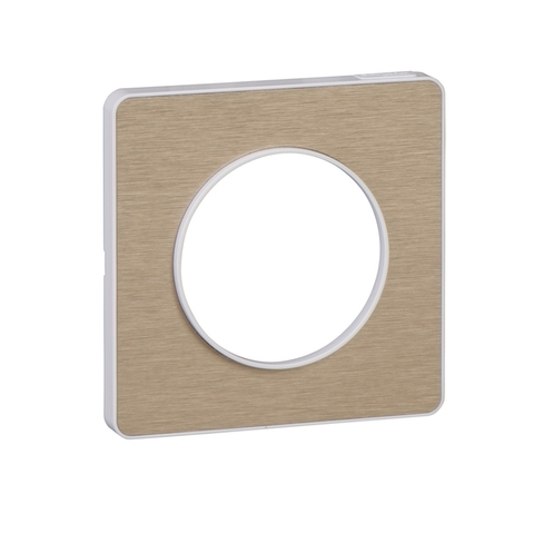 Рамка на 1 пост. Цвет Полированный Бронза, белая вставка. Schneider Electric(Шнайдер электрик). Odace(Одес). S52P802L