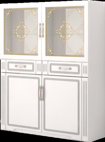 Шкаф комбинированный Виктория 39 Ижмебель белый глянец