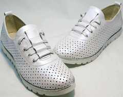 Женские туфли на плоской подошве летние Mi Lord 2007 White-Pearl.