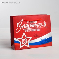 Пакет ламинированный горизонтальный «С Днем защитника Отечества», S 15 × 12 × 5,5 см