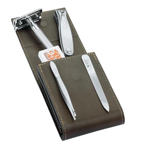 Набор бритвенный Dovo  (574056) 5 предметов цвет коричневый кожаный футляр